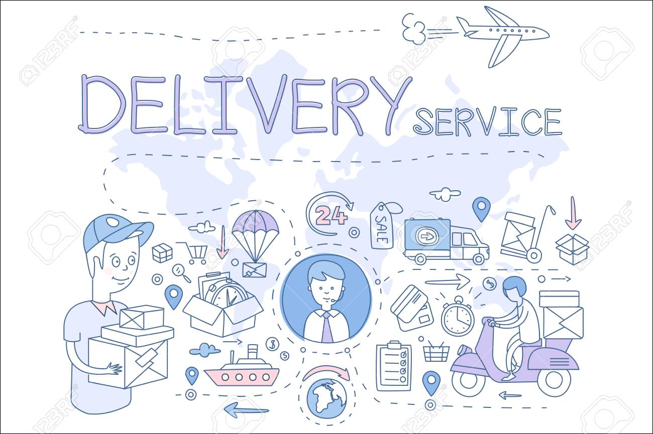 Delivery service concept illustration. Icons in linear style. Delivery boy and manager, transport, payment with cards. Vector design for mobile app - 100271427