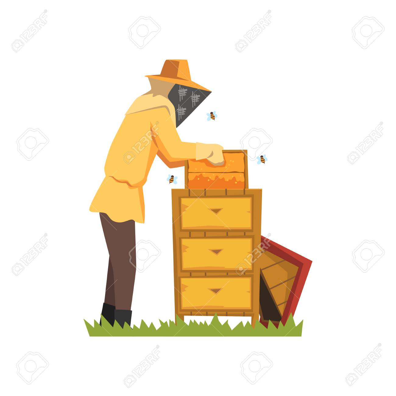 Beekeeper in a protective suit vector Illustration on a white background - 100517286