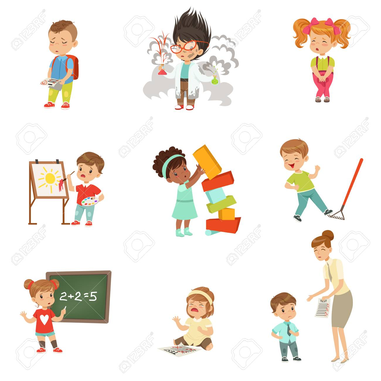 Childrens failures and mistakes set, frustrated little kids experiencing their failures vector Illustrations on a white background - 100844179