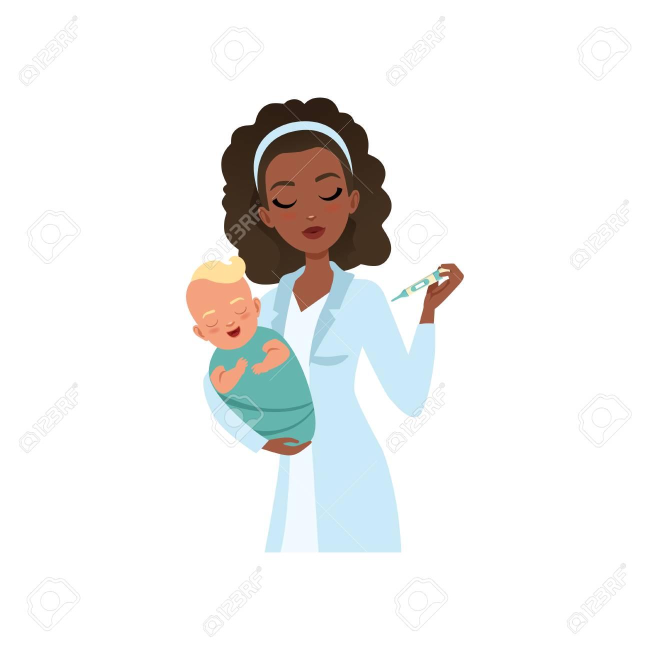 4265d865c Female Pediatrician In White Coat Examining Newborn Baby Temperature ...