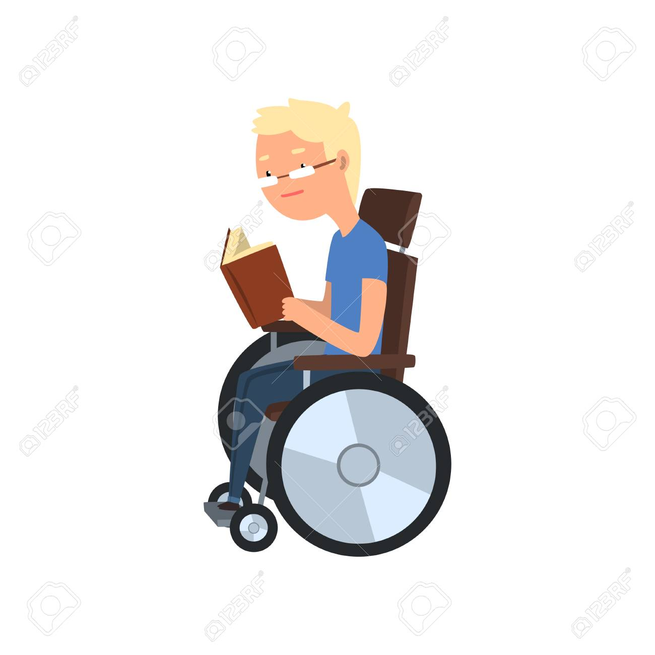 Disabled man in wheelchair reading a book, rehabilitation of disabled people concept vector Illustration on a white background - 101375865