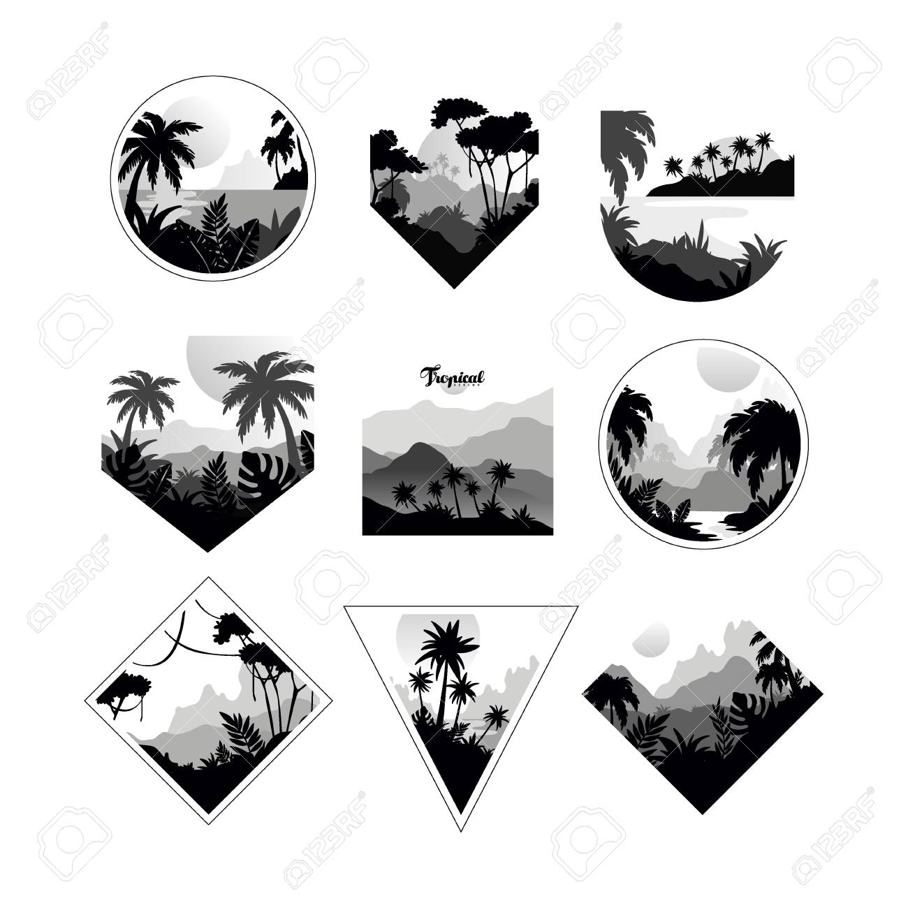 Collection of monochrome geometric tropical, badges with tropical trees, retro style design for banner, poster, placard, brochure vector Illustrations on a white background - 101439749
