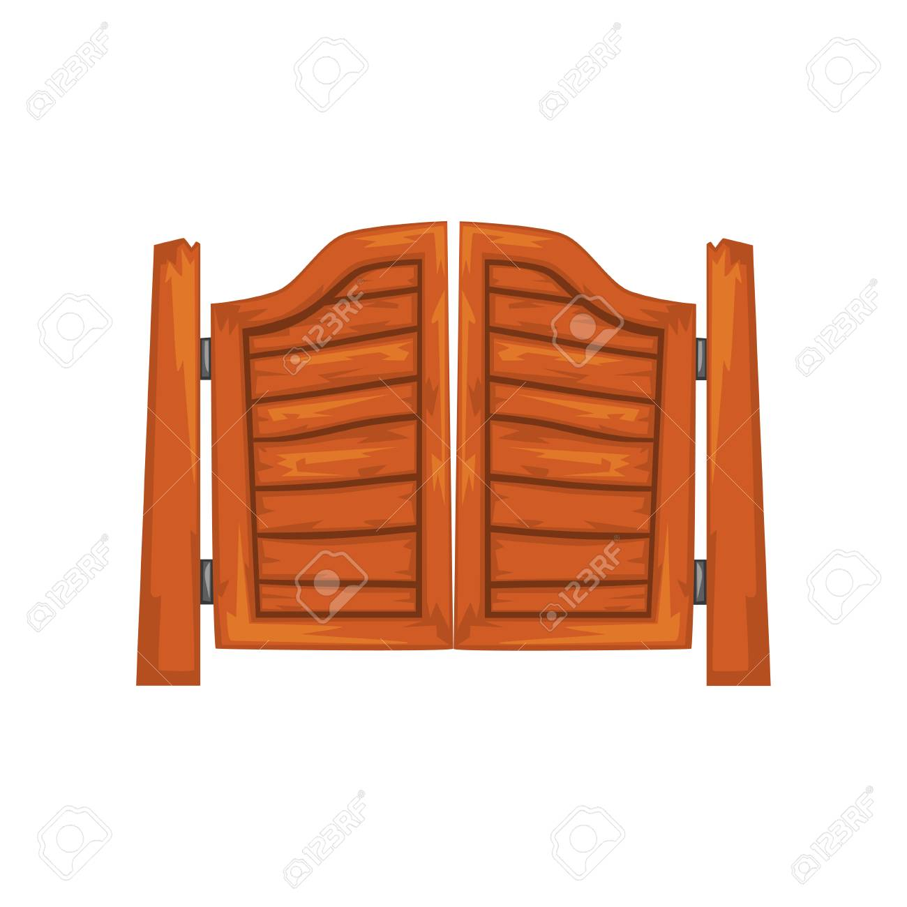 Old western swinging saloon doors vector Illustration on a white background - 101440120