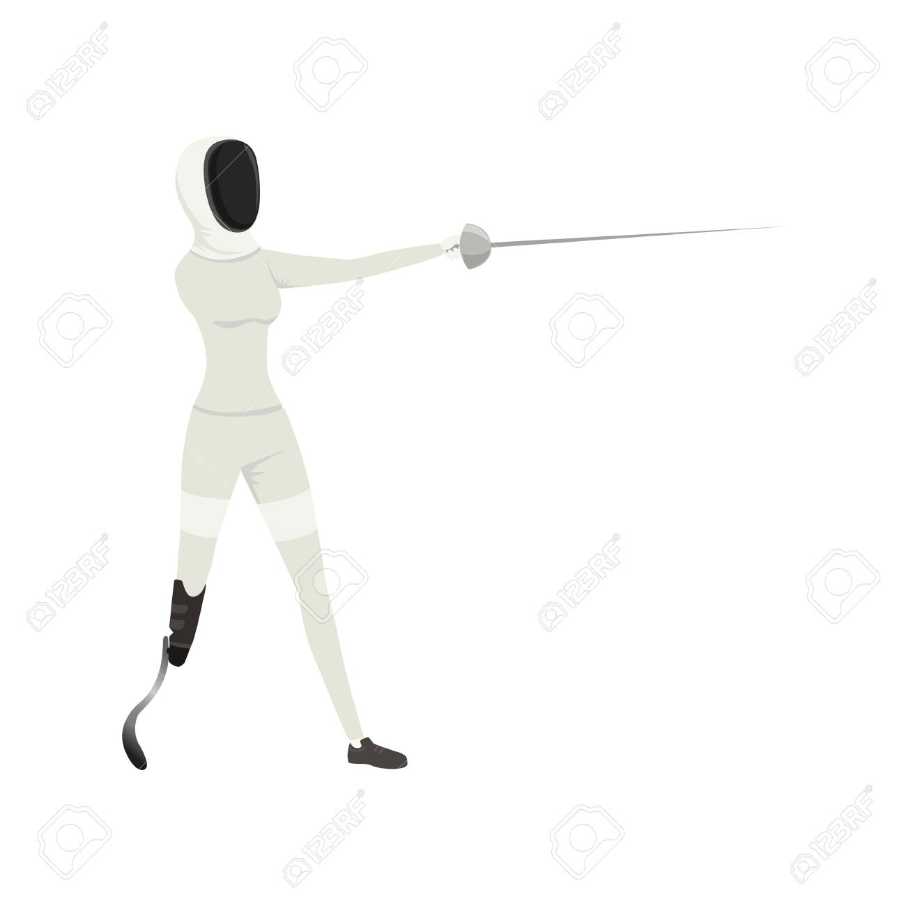 Cartoon athlete with physical disabilities fencing with rapier
