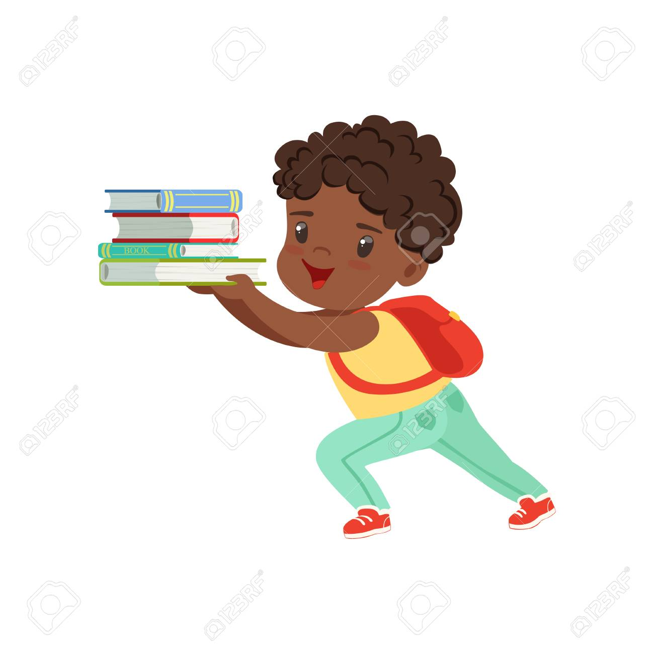 Cute little boy character with backpack holding heavy stack of books vector Illustration on a white background - 102020889