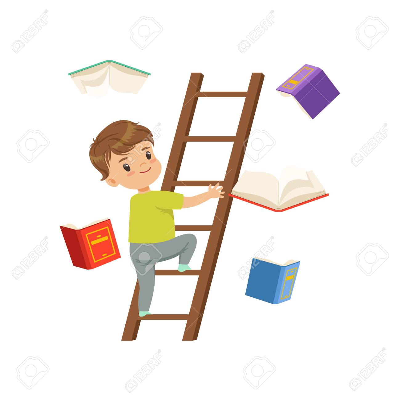 Cute little boy character climbing up wooden ladder, books falling next to him vector Illustration on a white background - 102020908