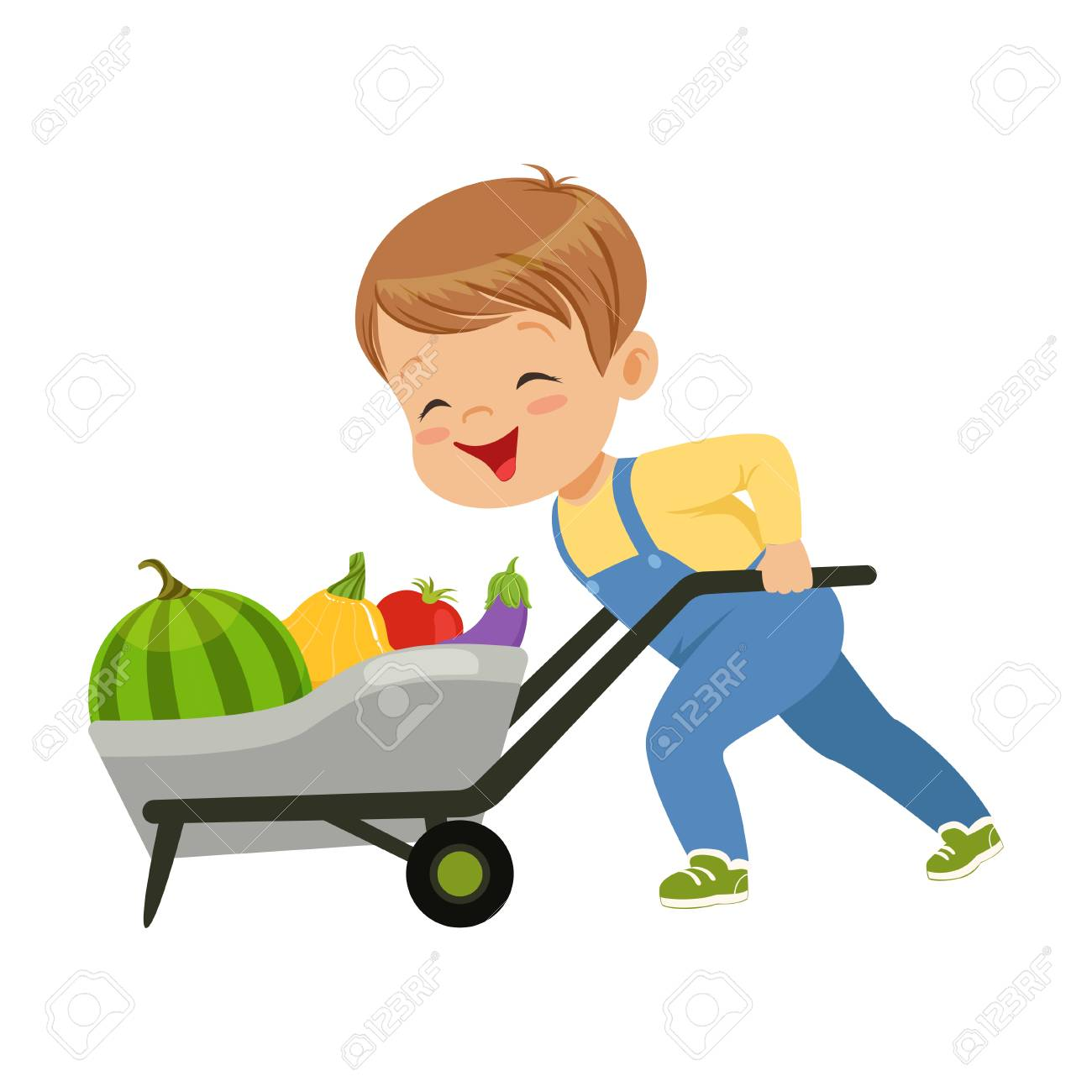 Cute little boy character pushing wheelbarrow full of vegetables vector Illustration on a white background - 102021501