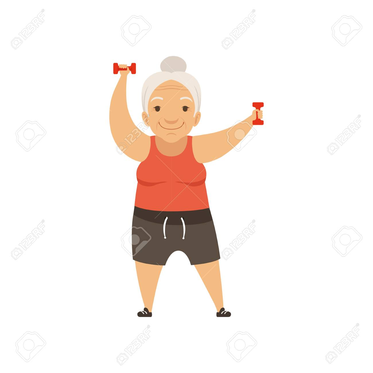 Grey senior woman in sports uniform exercising with dumbbells, grandmother character doing morning exercises or therapeutic gymnastics, active and healthy lifestyle vector Illustration - 102119214