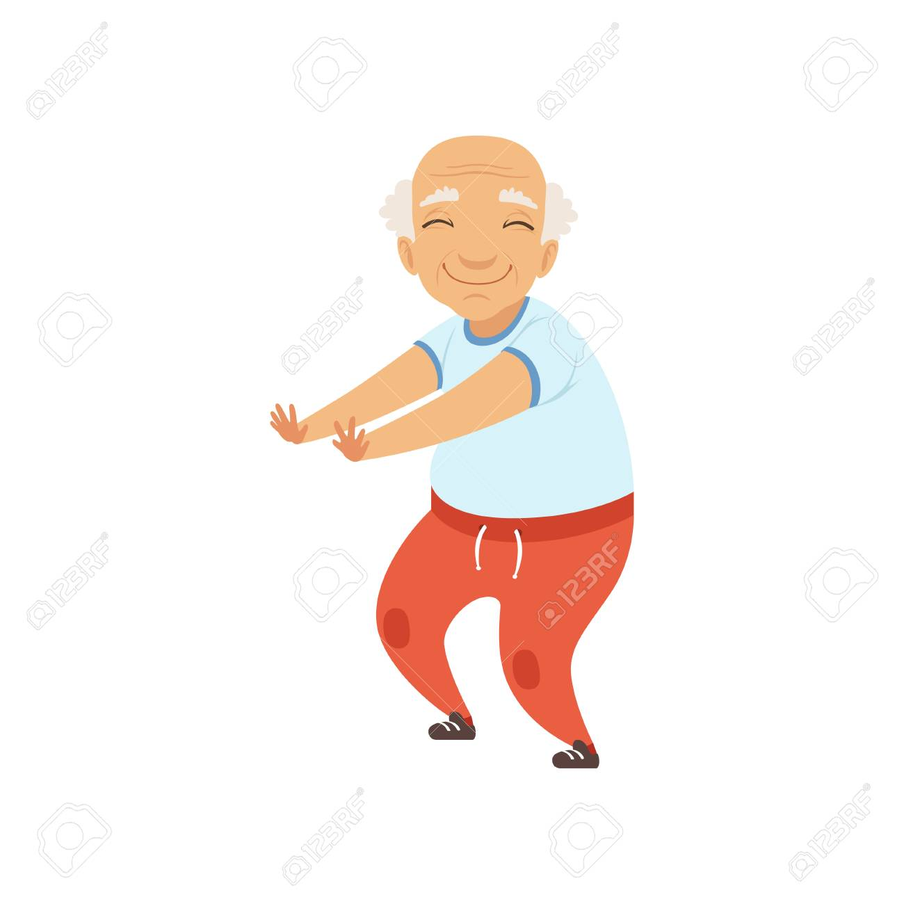 Senior man in sports uniform doing squats, grandmother character doing morning exercises or therapeutic gymnastics, active and healthy lifestyle vector Illustration on a white background - 102107717