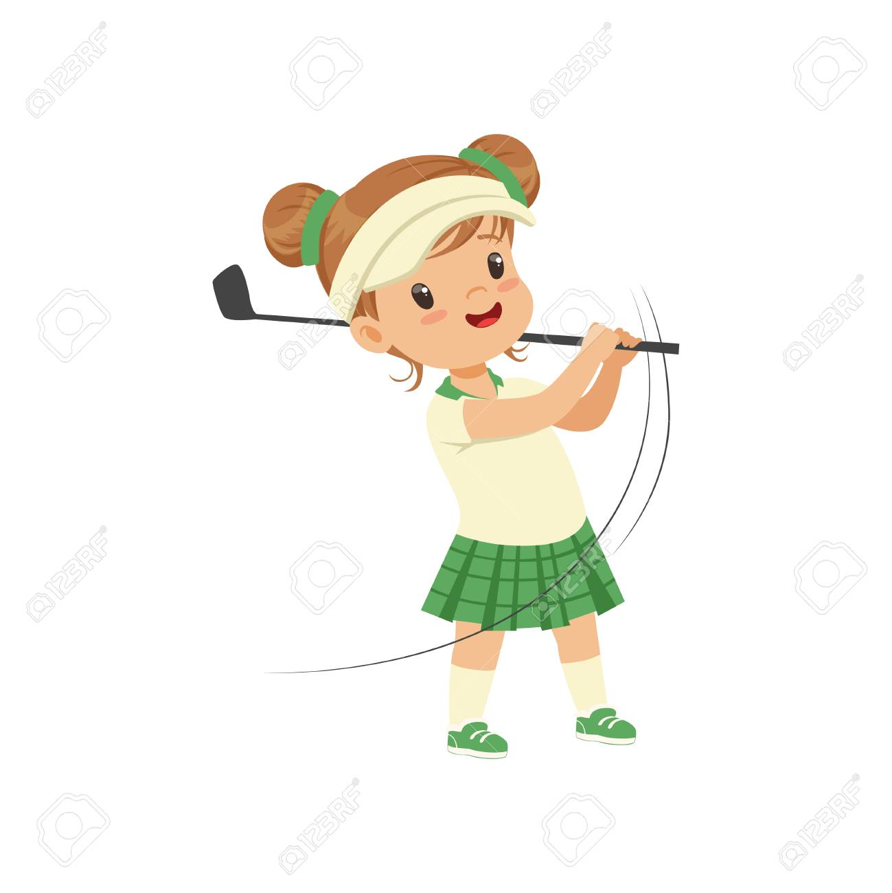 Lovely little girl playing golf, kids physical activity concept vector Illustration on a white background - 102287683
