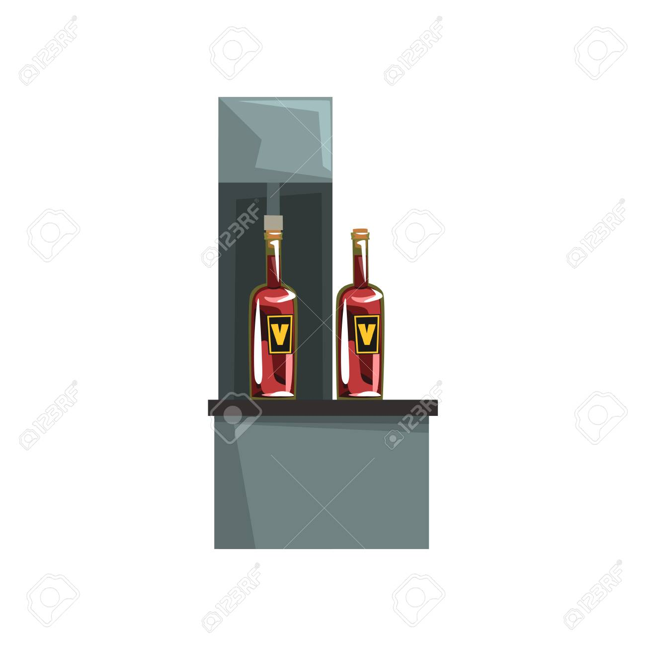 Pouring wine and corking wine bottles, wine production process vector Illustration on a white background - 102522875