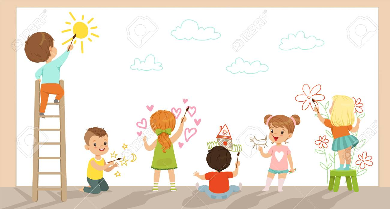 Preschool kids painting with brushes and paints on white wall vector Illustration - 102521292