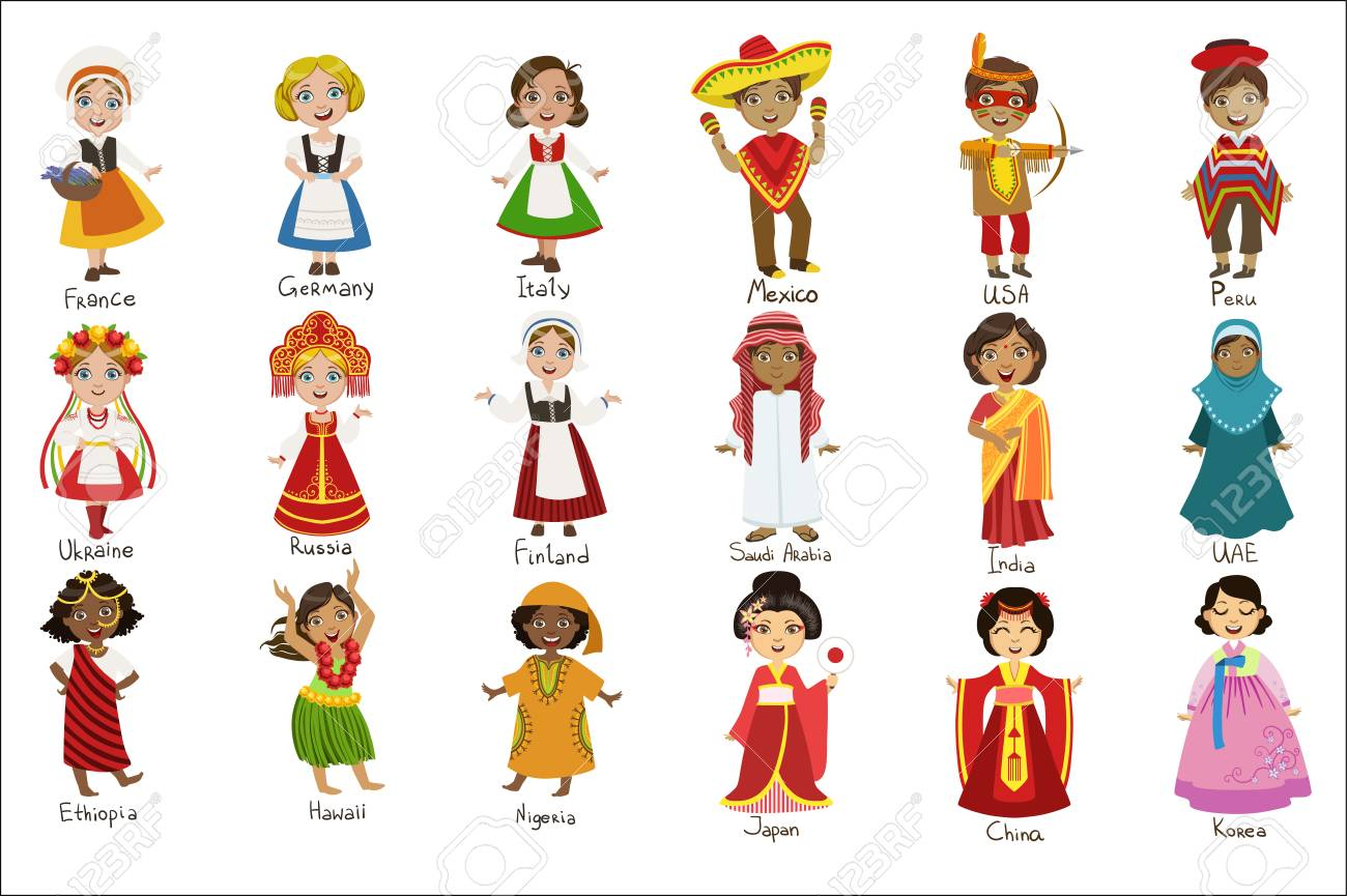 Kids In National Costumes Set - 102767408