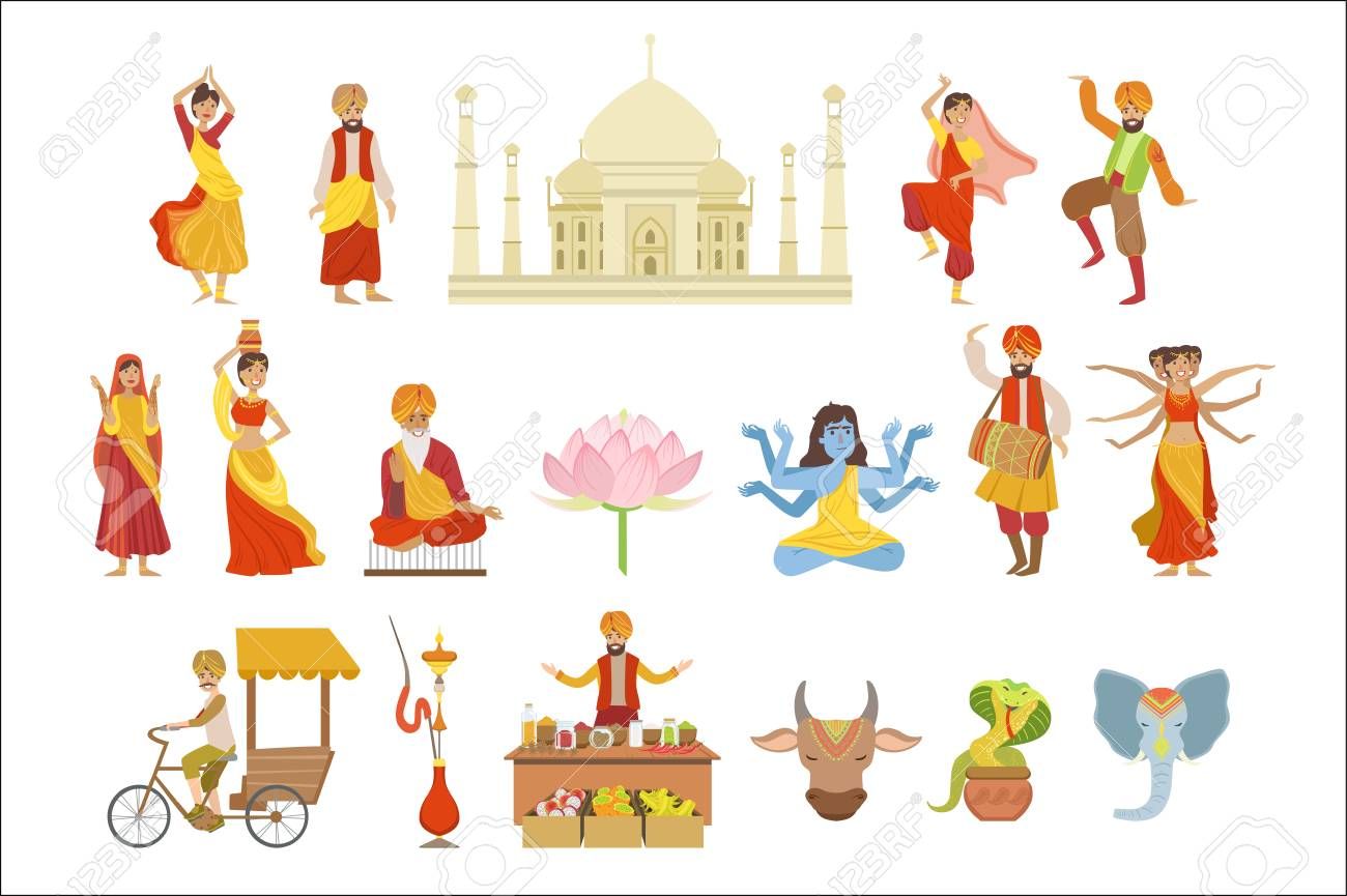 Dancing, Holy Cow And Other Indian Cultural Symbol Drawings - 102851057