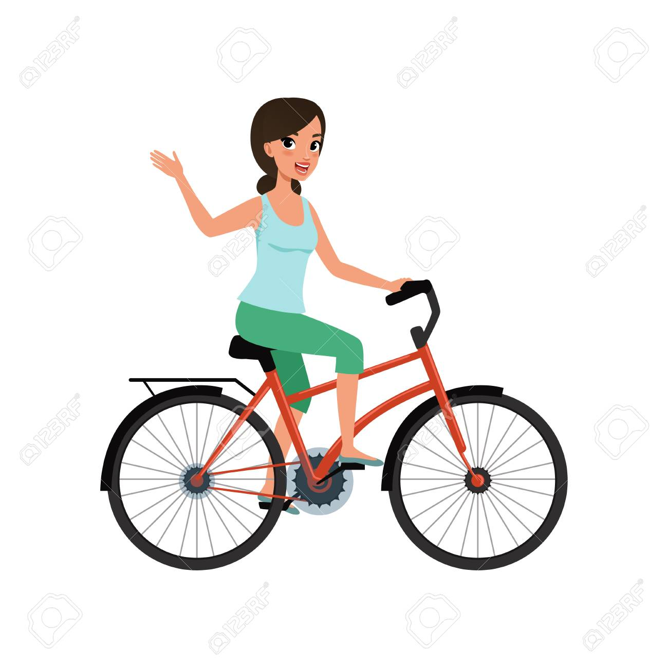 Young woman riding a bike and waving her hand, active lifestyle concept vector Illustrations on a white background - 102851062