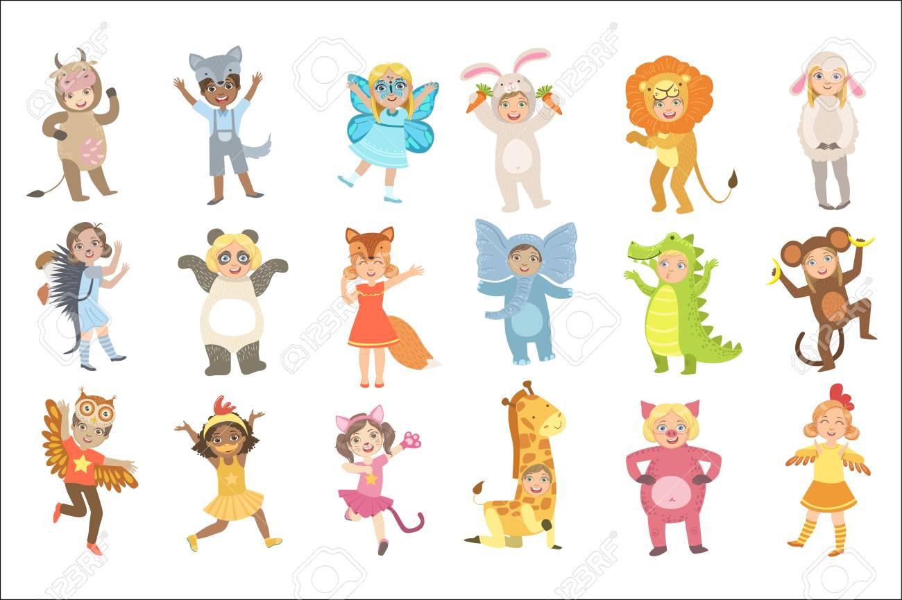 Kids In Animal Costumes Set - 102851065