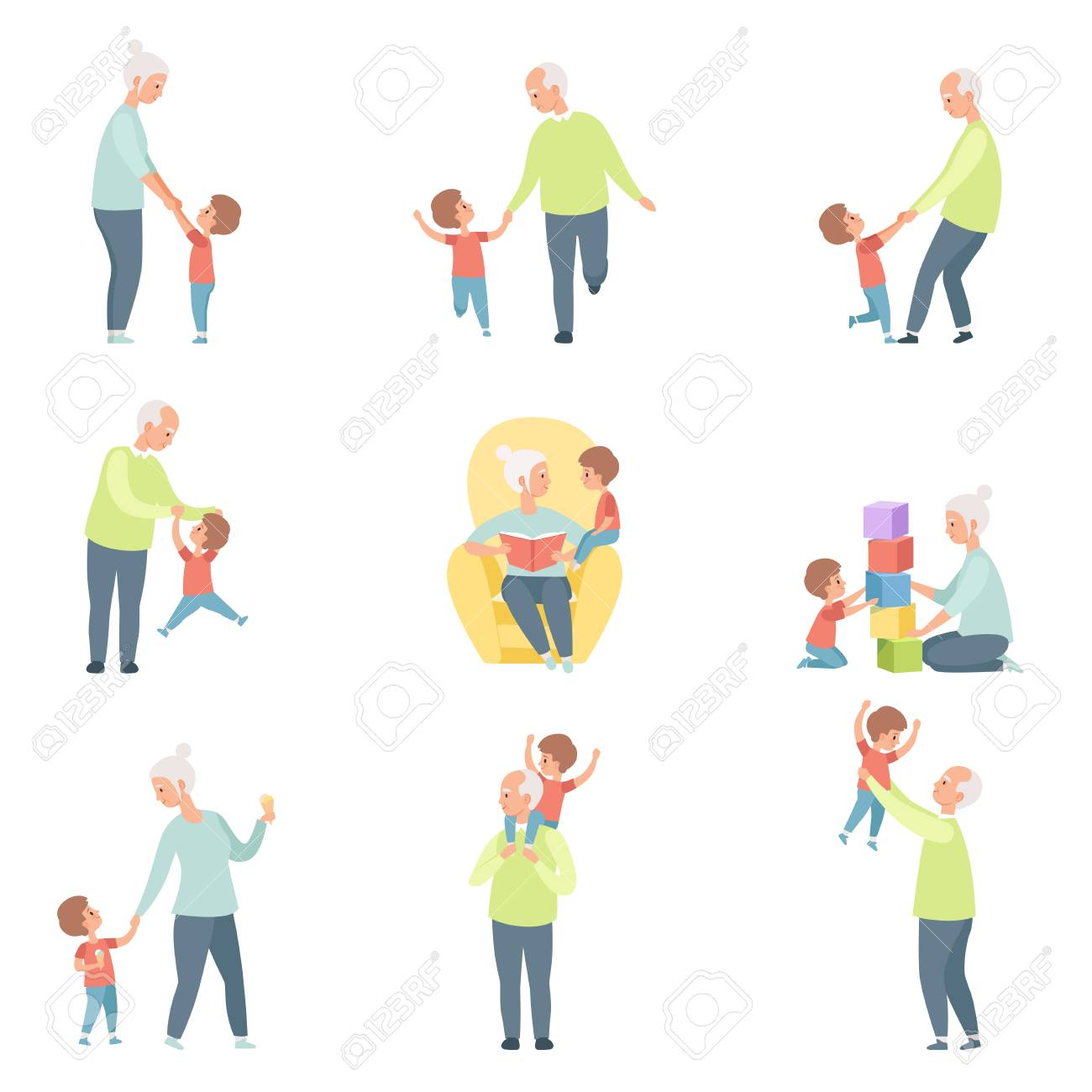 Grandpa and grandma playing, walking and having fun with their grandson set vector Illustrations on a white background - 104333404