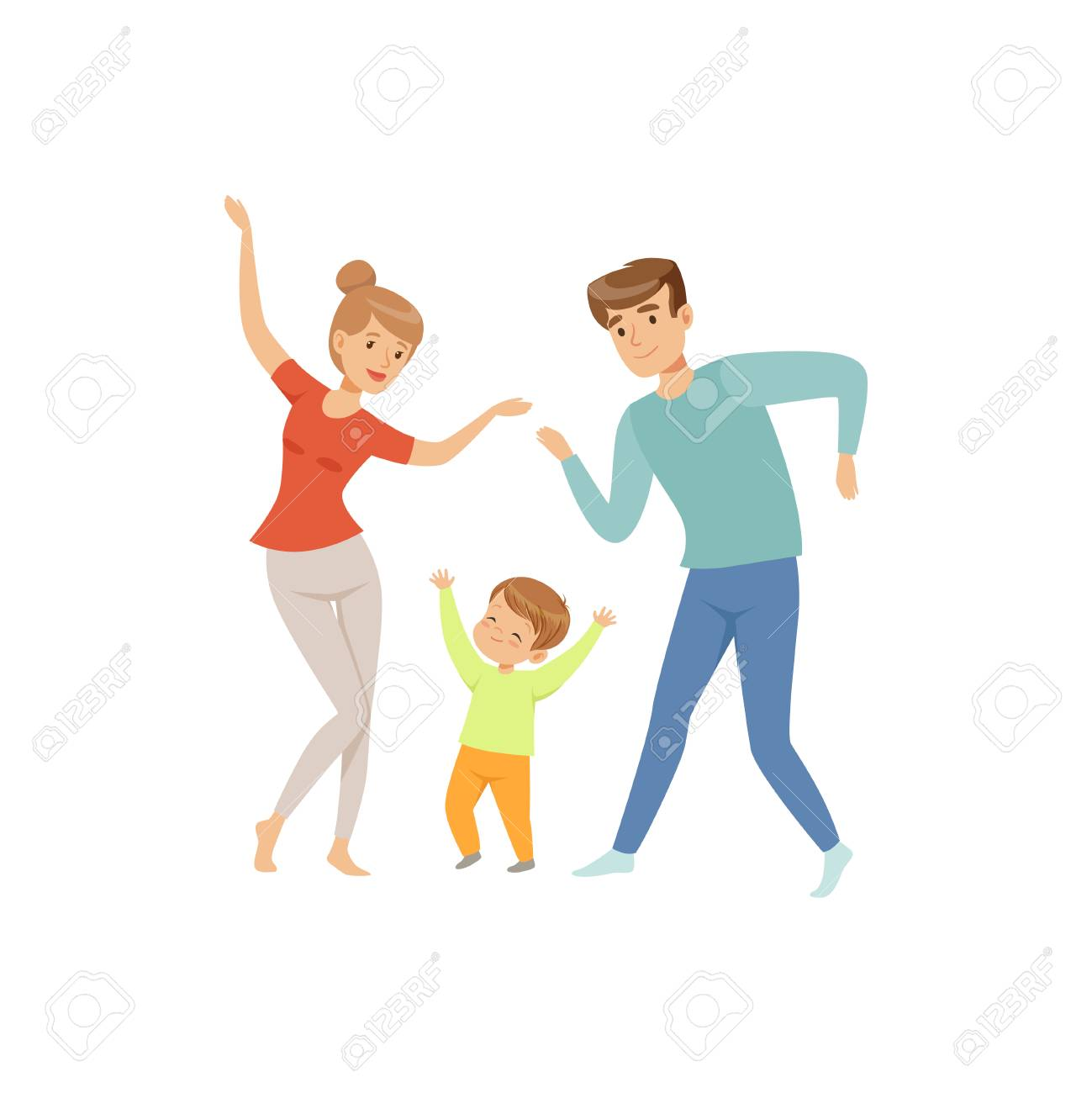 Mom and dad dancing with their little son, happy family and parenting concept vector Illustration on a white background - 103180826