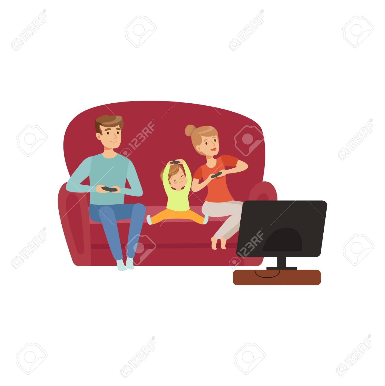 Mom, dad and their little son sitting on the sofa and watching TV, happy family and parenting concept vector Illustration on a white background - 103180833