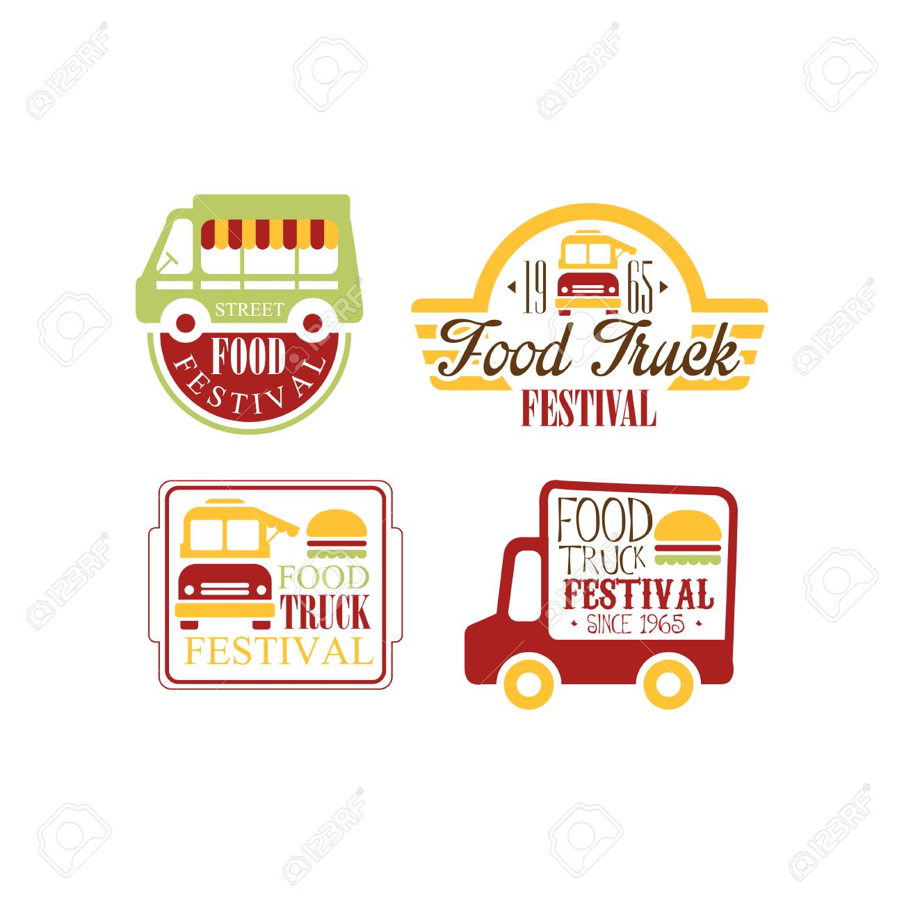 Vector Set Of Colorful Templates For Food Truck Festival Burger