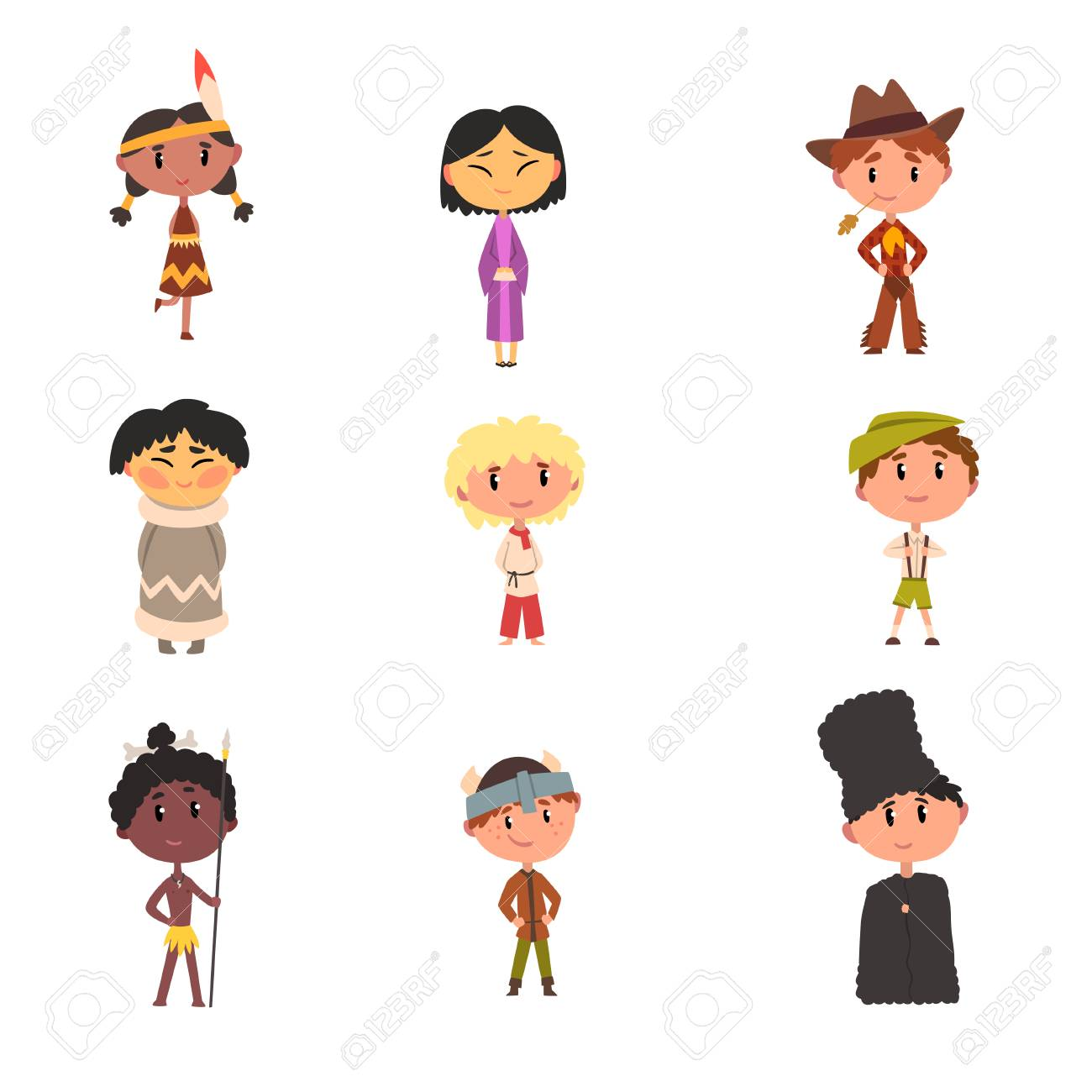 Kids In National Clothes Boys And Girls Cartoon Characters In