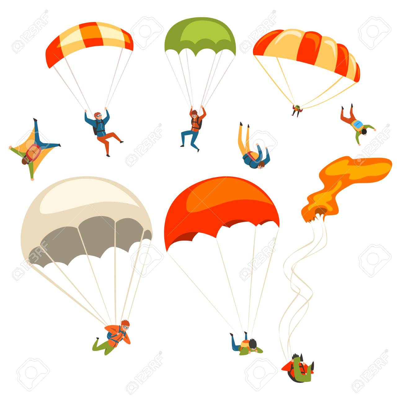 Skydivers flying with parachutes set, extreme parachuting sport and skydiving concept vector Illustrations on a white background - 104333600