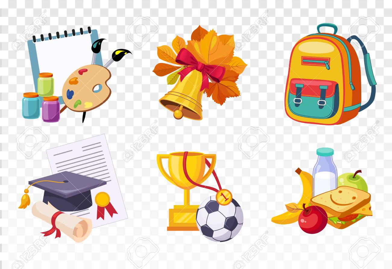 4d7ac8835a19 Flat vector set of icons related to school theme. Drawing lessons items