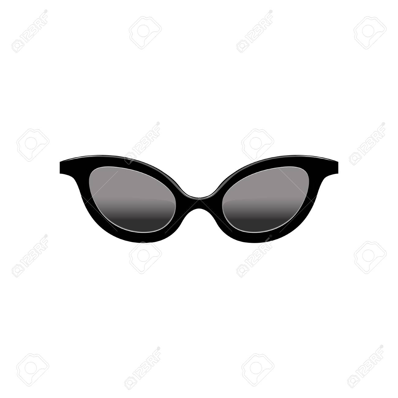 Retro womens cat eye sunglasses with black lenses and plastic frame. Fashion accessory. Flat vector element for mobile app - 104333616