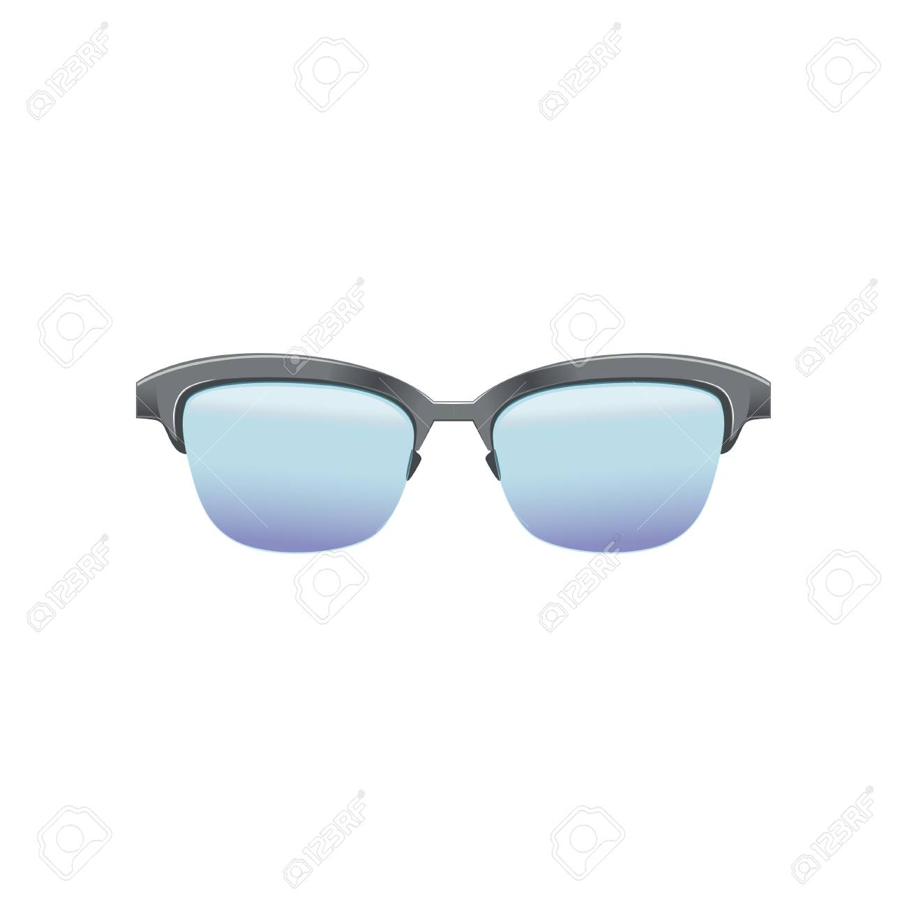 Classic Clubmaster Glasses With Blue Lenses And Metallic Half ...