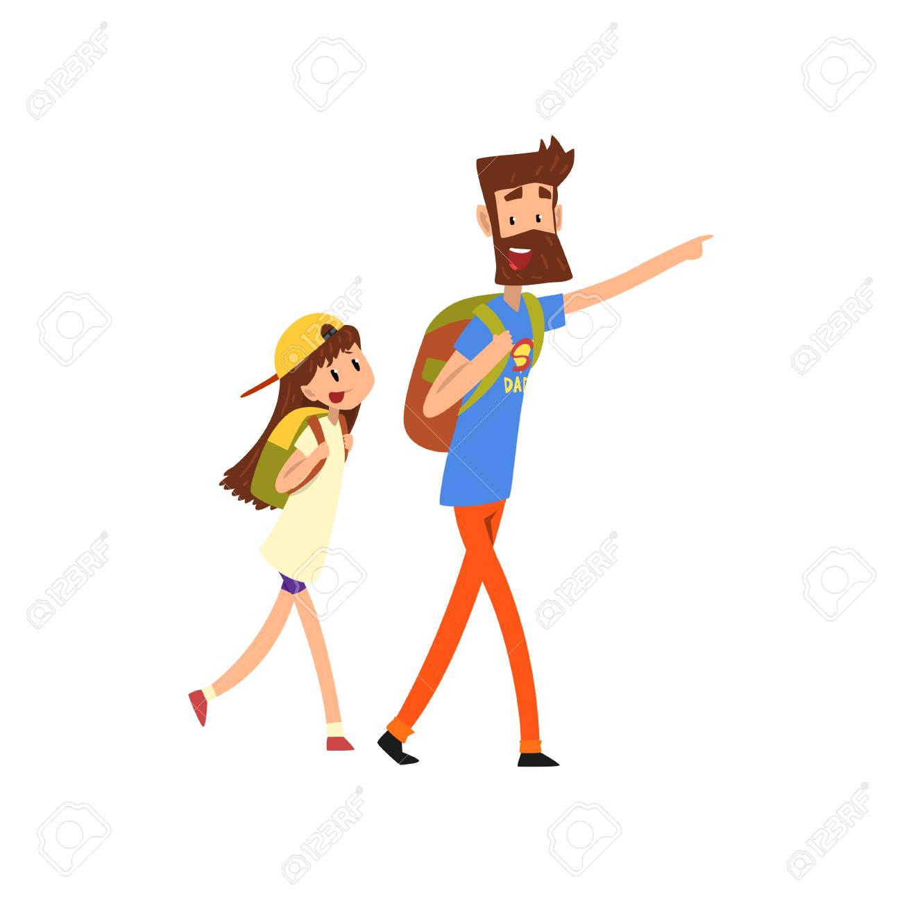 Super hero dad and his daughter with backpacks vector Illustration on a white background - 104333630