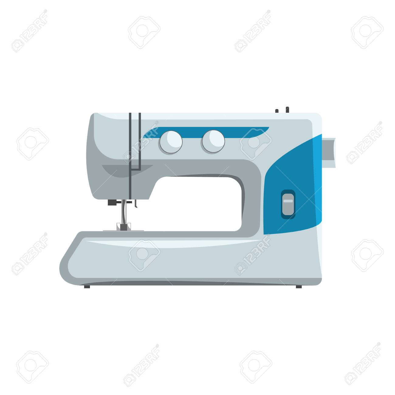 Modern sewing machine, dressmakers equipment vector Illustration isolated on a white background. - 104166054