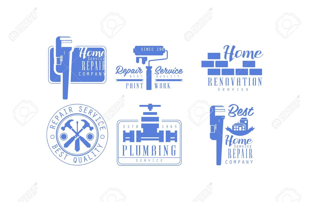 Collection Of 6 Monochrome Logos For Plumbing And Home Renovation Royalty Free Cliparts Vectors And Stock Illustration Image 104927017