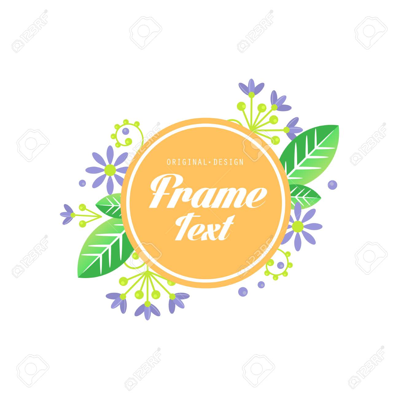 Floral frame original design, elegant sign for company identity,