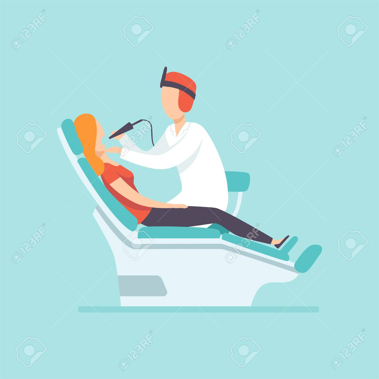Male dentist examining female patient at dental clinic , medical treatment and healthcare concept vector Illustration in cartoon style - 114711850