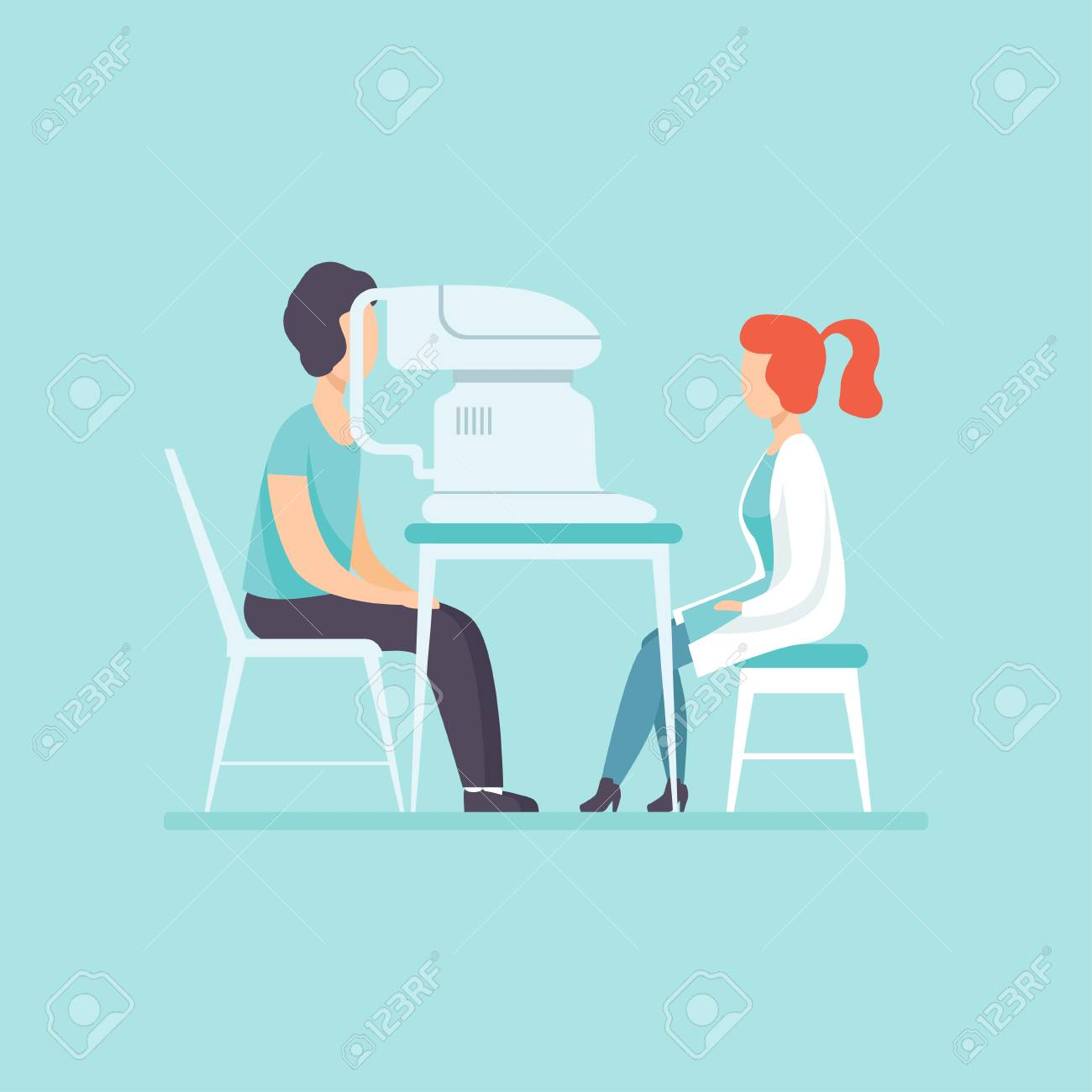 Ophthalmologist doctor examining patient eyesight with professional ophthalmological equipment, medical treatment and healthcare concept vector Illustration in cartoon style - 105425138