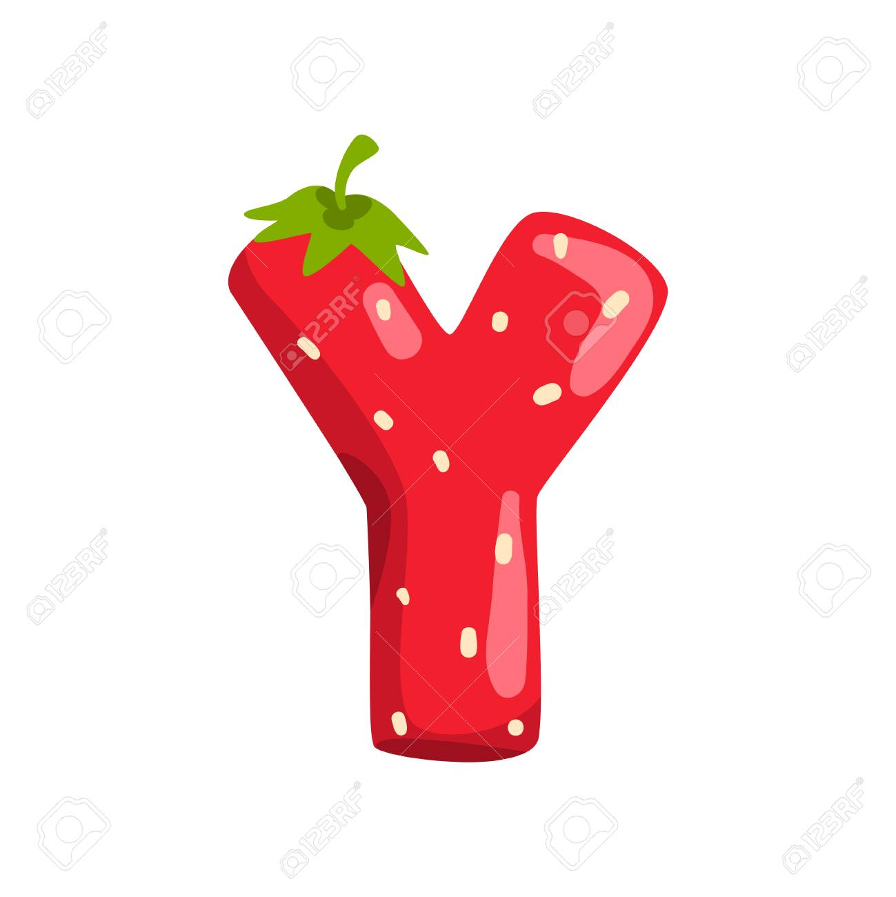 Letter Y of English alphabet made from ripe fresh srawberry, bright red berry font vector Illustration isolated on a white background. - 112323571