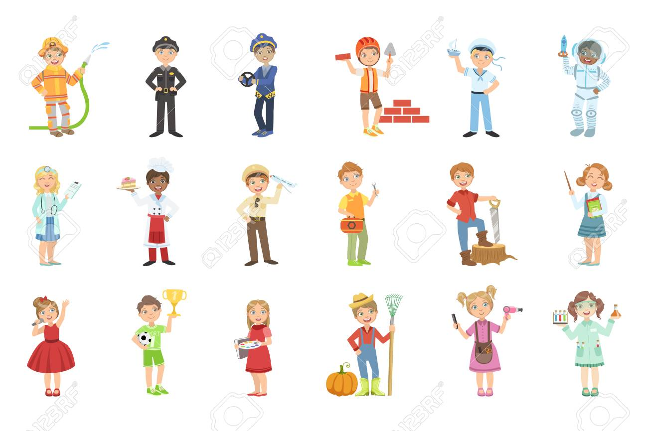 Kids With Their Future Professions Attributes Bright Color Cartoon Simple Style Flat Vector Set Of Stickers Isolated On White Background - 111914887