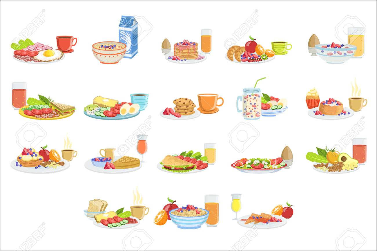 Different Breakfast Food And Drink Sets. Collection Of Morning Menu Plates Illustrations In Detailed Simple Vector Design. - 111889760