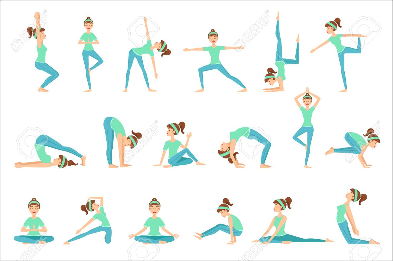 Girl In Blue Training Clothes Demonstrating Yoga Asana Set Of Royalty Free Cliparts Vectors And Stock Illustration Image 111889811