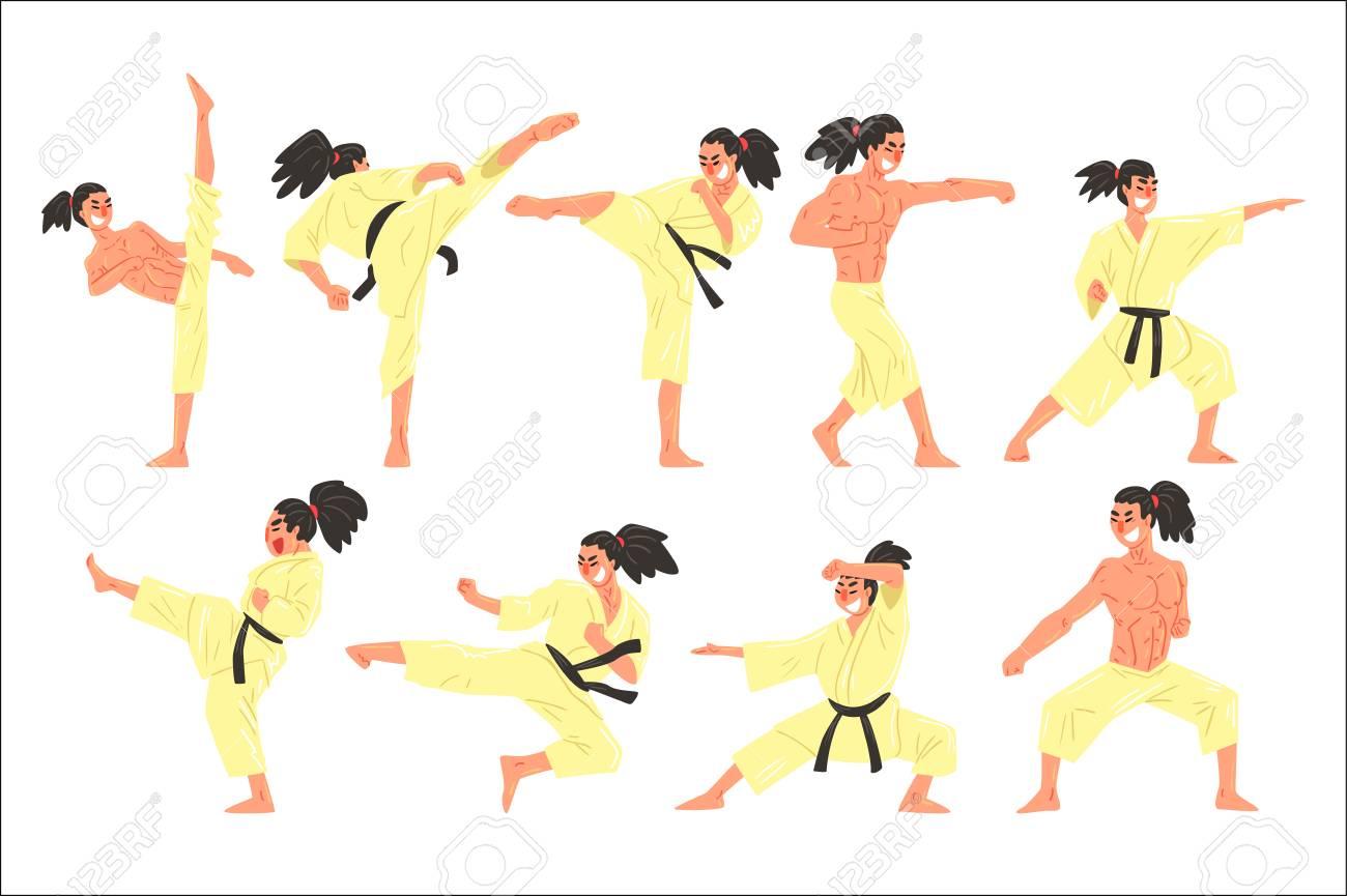 Professional Martial Arts Sportsman Funny Character Set Cartoon Royalty Free Cliparts Vectors And Stock Illustration Image 111889854