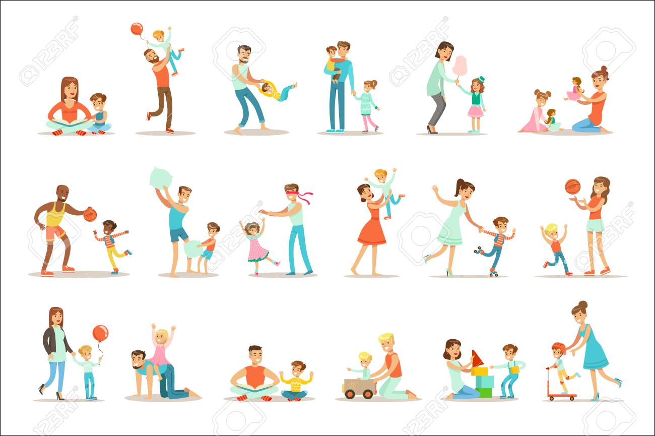Loving Fathers Playing And Enjoying Good Quality Daddy Time With Their Happy Children Set Of Cartoon Illustrations Single Dad And Kid Smiling Flat Colorful Vector Characters Collection. - 111889864