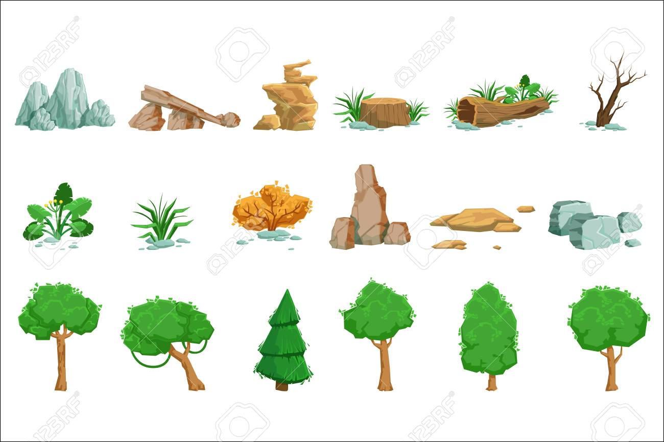 Landscape Natural Elements Set Of Detailed Icons - 106705627
