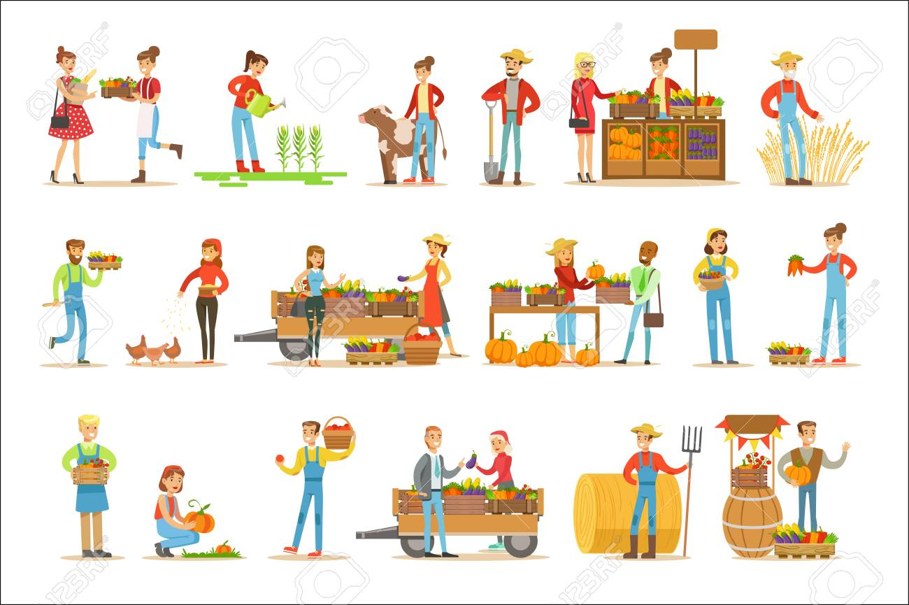 Farmers Men And Women Working At The Farm And Selling Fresh Farming Vegetables On Natural Organic Product Market. Set Of Cartoon Happpy Characters Growing Crops And Animals For Food Vector Illustrations. - 111889886
