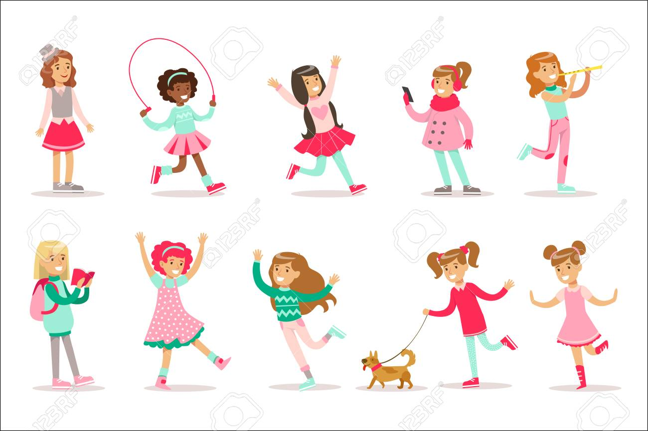 Happy And Their Expected Classic Behavior With Girly Games And Pink Dresses Set Of Traditional Female Kid Role Illustrations. Collection Of Smiling Teenage Girls And Their Interests Vector Flat Illustrations. - 111889891