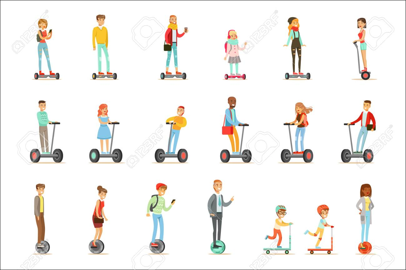 People Riding Electric Self-Balancing Batery Poweres Personal Electric Scooters Whith One Or Two Wheels, Set Of Cartooon Characters - 106705696
