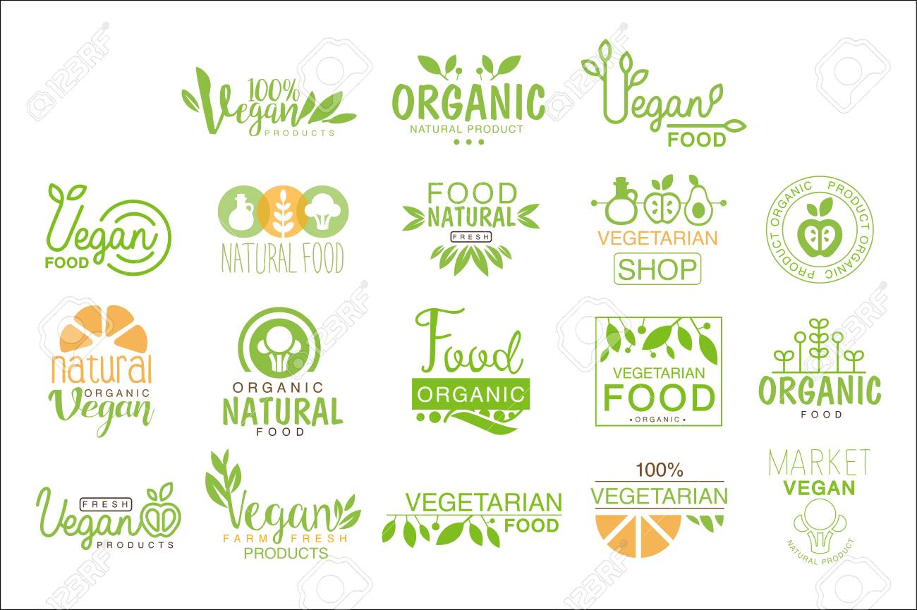vegan natural food set of template cafe signs in green orange