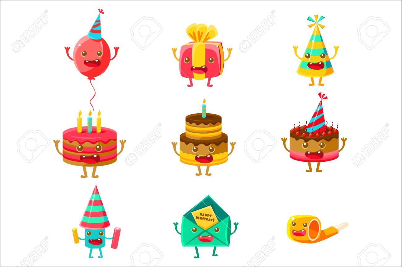 Happy Birthday And Celebration Party Symbols Cartoon Characters Royalty Free Cliparts Vectors And Stock Illustration Image 111889929