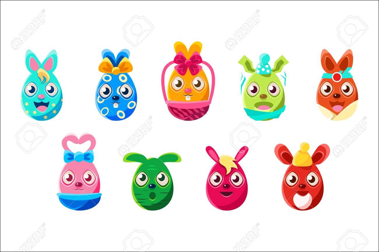 Easter egg shaped bunnies colorful girly sticker set of religious holiday symbols stock vector 106706374