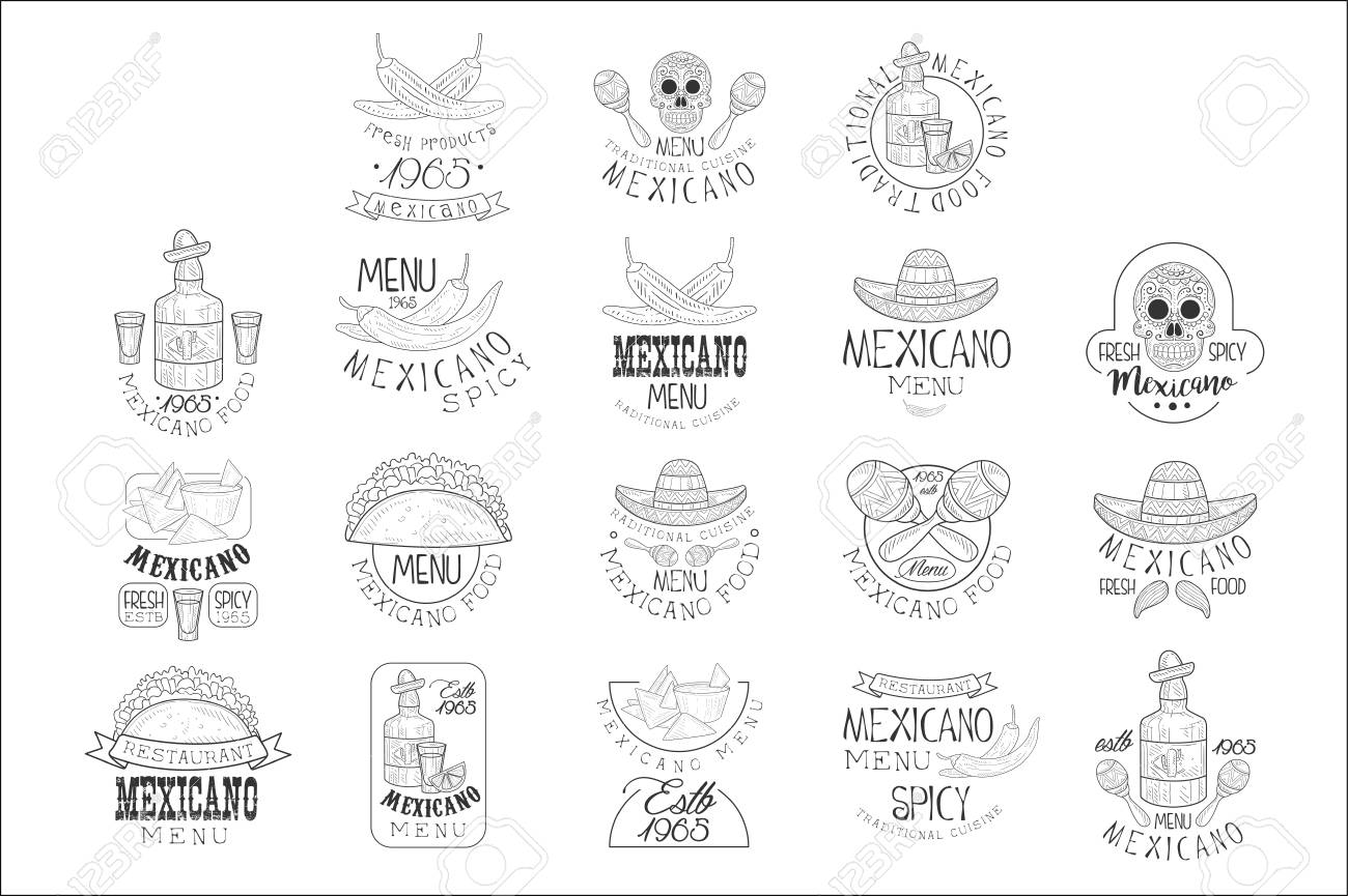 National Traditional Mexican Cuisine Restaurant Hand Drawn Black And
