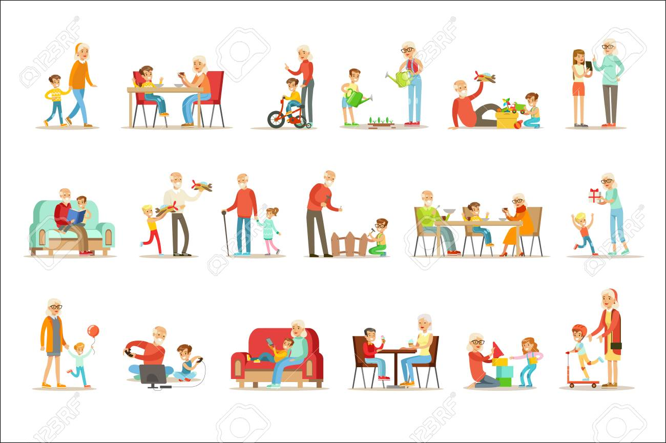 Grandfather And Grandmother Spending Time Playing With Grandchildren, Small Boys And Girls With Their Grandparents Vector Collection. Different Generations Of Family Enjoying Time Together Set Of Illustrations. - 111890004
